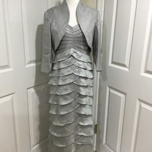 Adrianna Papell Silver Two-Piece Layered Gown 10